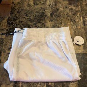 White Mesh Basketball Shorts